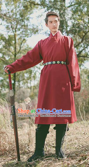 Traditional Chinese Ancient Hanfu Swordsman Costumes, Asian China Ming Dynasty Imperial Guards Embroidery Red Long Robe for Men