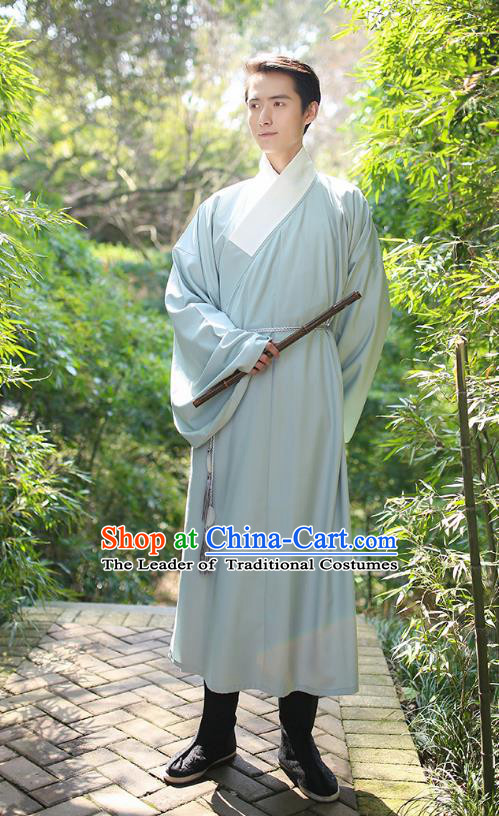 Traditional Chinese Ancient Hanfu Costume, Asian China Han Dynasty Swordsman Green Long Robe for Men