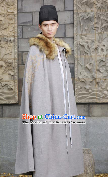 Traditional Chinese Ancient Hanfu Swordsman Cape Costume, Asian China Han Dynasty Embroidery Cloak Grey Mantle Clothing for Men