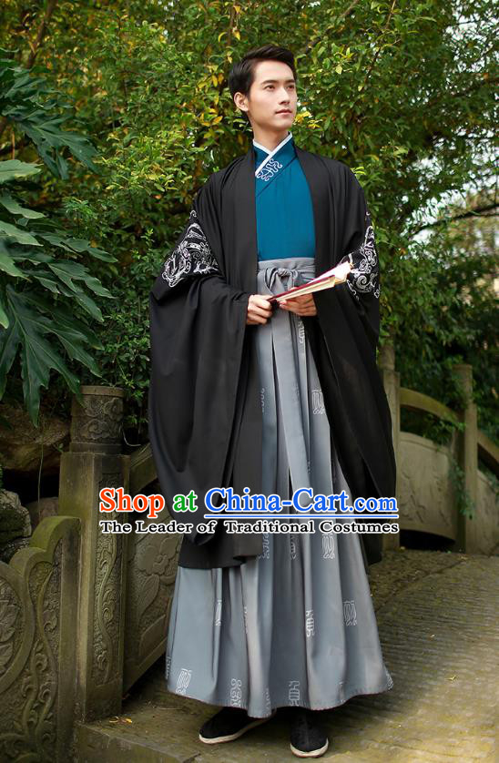 Traditional Chinese Ancient Hanfu Swordsman Cape Costume, Asian China Han Dynasty Embroidery Black Cloak Clothing for Men
