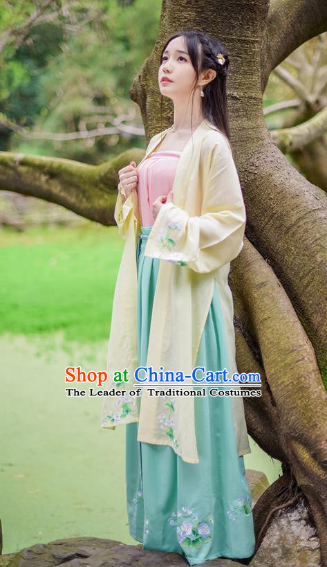Traditional Chinese Ancient Hanfu Princess Costume, Asian China Song Dynasty Young Lady Embroidery Long BeiZi Yellow Cardigan for Women