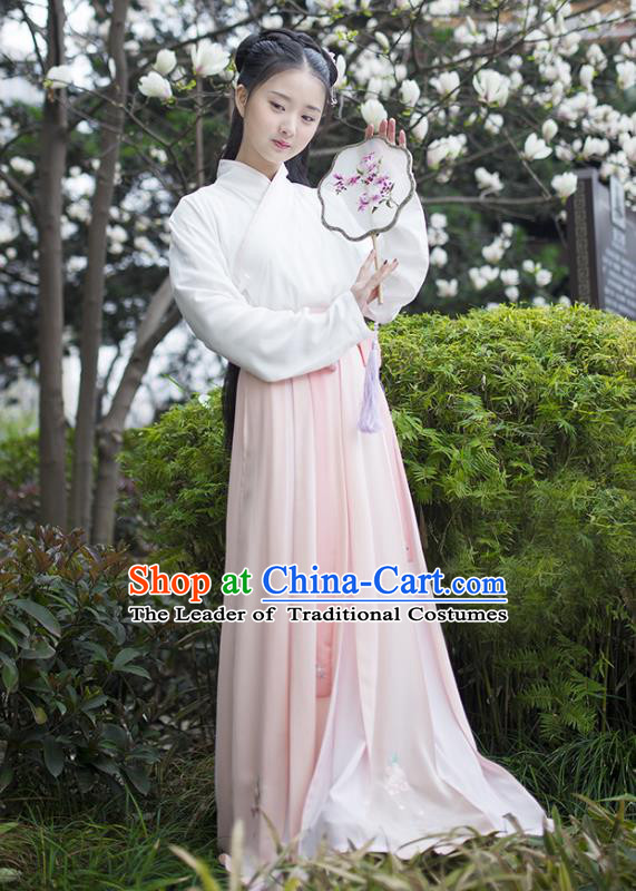 Traditional Chinese Ancient Hanfu Princess Costume, Asian China Song Dynasty Young Lady Pink Bust Skirt for Women