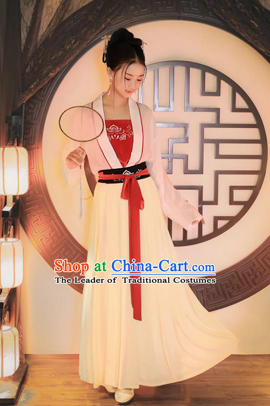 Traditional Chinese Ancient Princess Hanfu Costumes, Asian China Tang Dynasty Palace Lady Embroidery Blouse and Skirts for Women