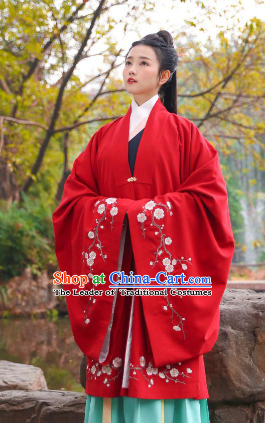 Traditional Chinese Ancient Hanfu Imperial Princess Costume, Asian China Ming Dynasty Palace Lady Embroidery Plum Blossom Red Cloak for Women