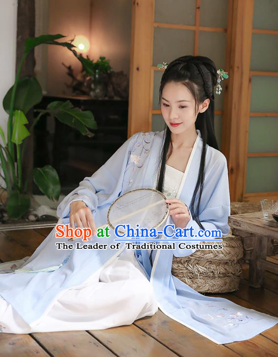 Traditional Chinese Ancient Princess Hanfu Costumes, Asian China Song Dynasty Palace Lady Embroidery Blue BeiZi Cardigan for Women