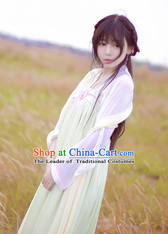 Traditional Chinese Ancient Princess Hanfu Costumes, Asian China Tang Dynasty Palace Lady Embroidery Slip Skirts for Women