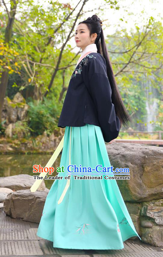 Traditional Chinese Ancient Princess Hanfu Costumes, Asian China Ming Dynasty Palace Lady Embroidery Blouse and Green Slip Skirts for Women