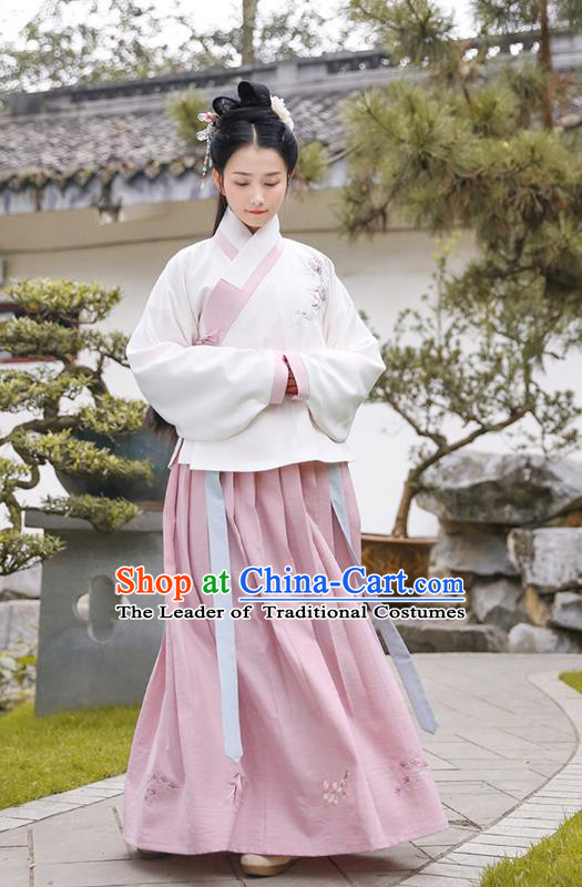 Traditional Chinese Ancient Princess Hanfu Costumes, Asian China Ming Dynasty Palace Lady Embroidery Blouse and Pink Slip Skirts for Women