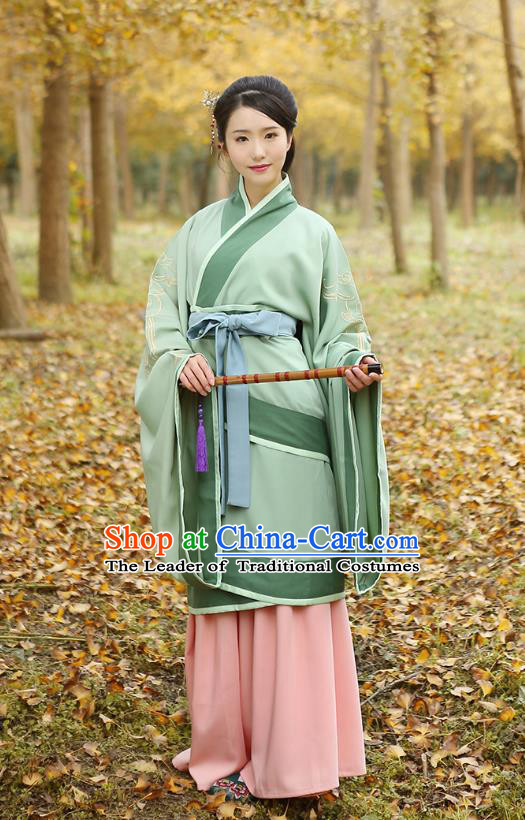 Traditional Chinese Ancient Young Lady Hanfu Costumes Green Curve Bottom, Asian China Han Dynasty Palace Princess Embroidery Clothing for Women