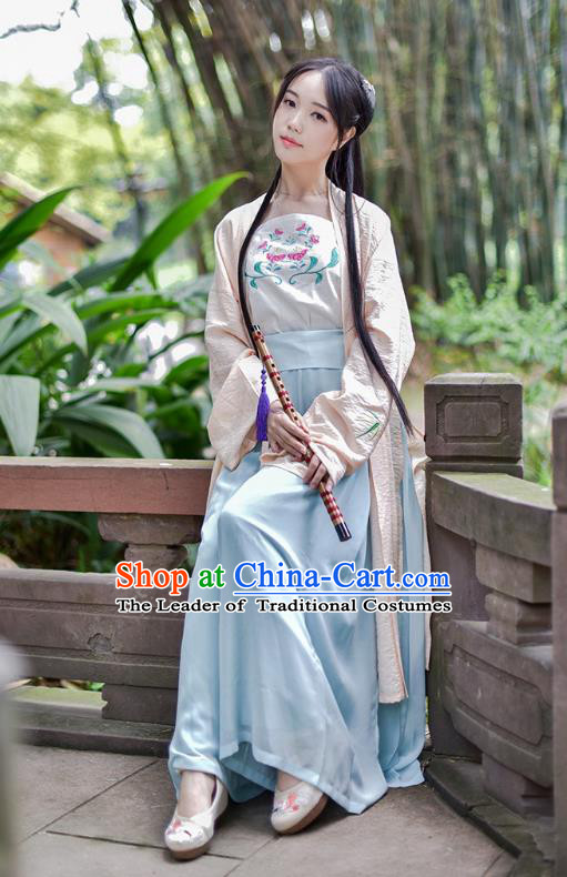 Traditional Chinese Ancient Young Lady Hanfu Costumes, Asian China Song Dynasty Palace Princess Blouse and Pants Complete Set for Women