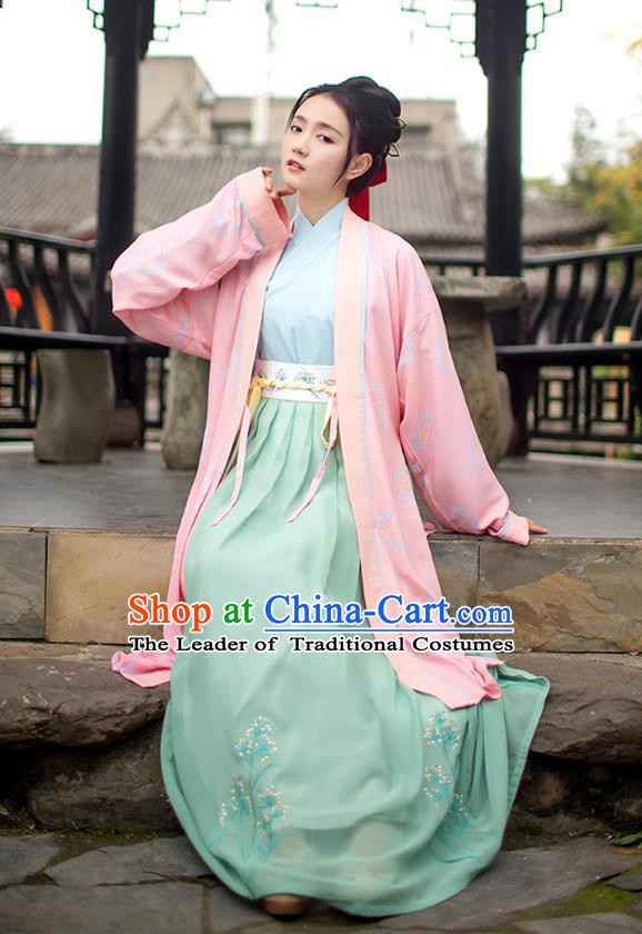 Traditional Chinese Ancient Young Lady Hanfu Costumes, Asian China Song Dynasty Palace Princess Pink BeiZi Blouse and Skirts Complete Set for Women
