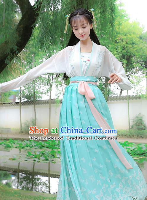 Traditional Chinese Ancient Hanfu Young Lady Costumes, Asian China Song Dynasty Princess Embroidery Slip Dress for Women