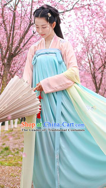 Traditional Chinese Ancient Hanfu Young Lady Costumes, Asian China Tang Dynasty Princess Embroidery Blue Slip Dress Clothing for Women
