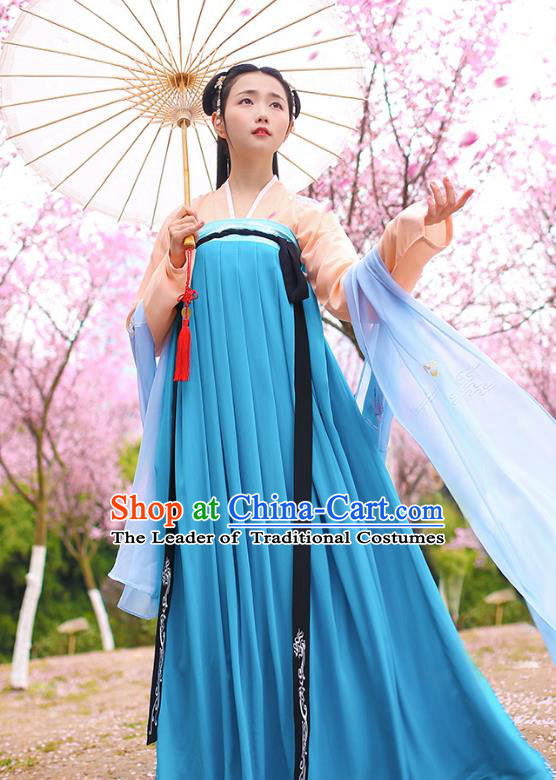 Traditional Chinese Ancient Hanfu Young Lady Costumes, Asian China Tang Dynasty Princess Embroidery Deep Blue Slip Dress Clothing for Women