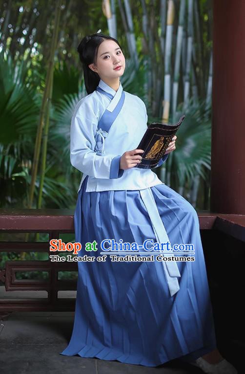 Traditional Chinese Ancient Hanfu Young Lady Costumes, Asian China Han Dynasty Princess Blue Blouse and Skirts for Women
