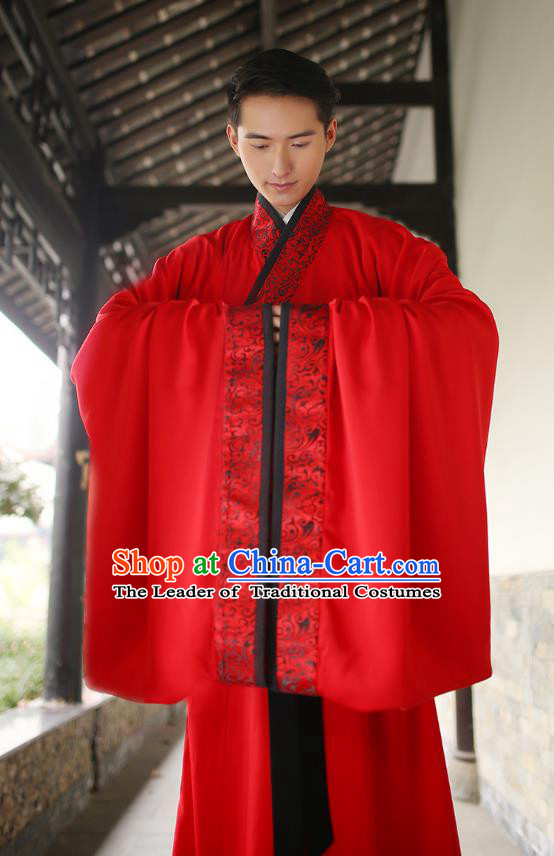 Traditional Chinese Ancient Minister Hanfu Wedding Costumes, Asian China Han Dynasty Groom Embroidered Red Clothing for Men