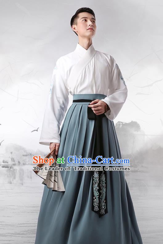 Traditional Chinese Ancient Minister Hanfu Costumes, Asian China Han Dynasty Slant Opening Embroidered Green Clothing for Men