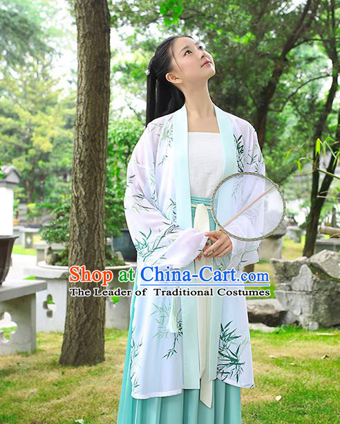 Traditional Chinese Ancient Young Lady Hanfu Costume, Asian China Song Dynasty Princess Printing Bamboo Cardigan for Women