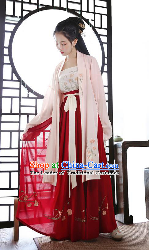 Traditional Chinese Ancient Hanfu Princess Costume, Asian China Tang Dynasty Palace Lady Embroidered Dress Clothing for Women