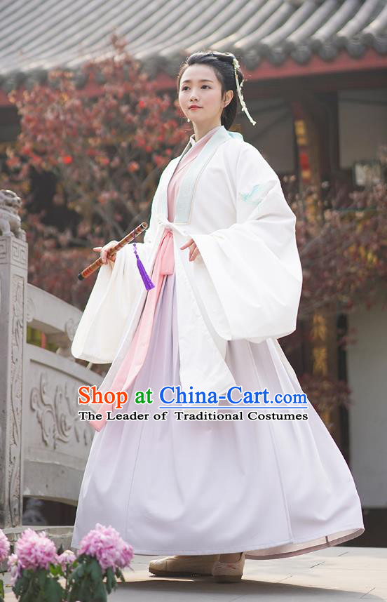 Traditional Chinese Ancient Hanfu Princess Costume, Asian China Han Dynasty Palace Lady Embroidered Crane White Cloak for Women
