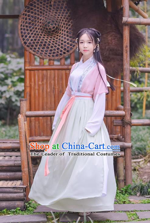 Traditional Chinese Ancient Hanfu Princess Costume, Asian China Song Dynasty Palace Lady Embroidered Pink Blouse and Slip Skirt for Women