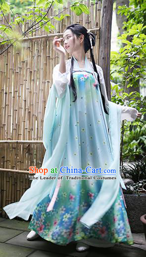 Traditional Chinese Ancient Hanfu Princess Costume Green Slip Skirts, Asian China Tang Dynasty Palace Lady Clothing for Women
