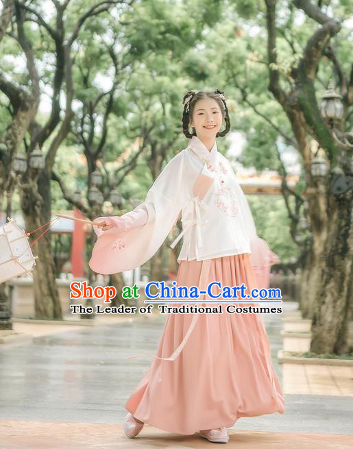 Traditional Chinese Ancient Hanfu Costume Palace Lady Dress, Asian China Ming Dynasty Embroidered Blouse and Skirts for Women