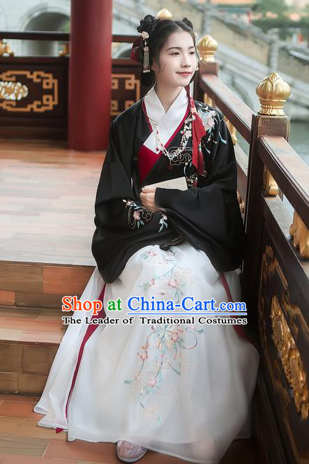 Traditional Chinese Ancient Hanfu Costume Palace Lady Clothing, Asian China Ming Dynasty Embroidered Black Blouse and Skirts for Women