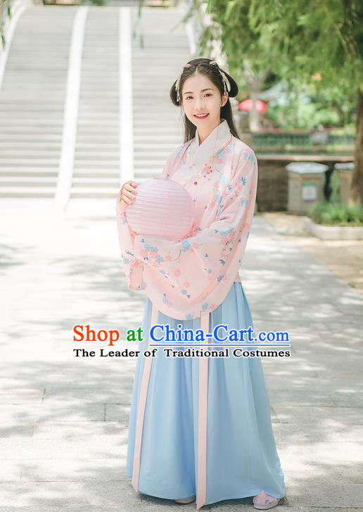 Traditional Chinese Ancient Hanfu Costume Palace Lady Clothing, Asian China Ming Dynasty Embroidered Pink Blouse and Blue Skirts for Women