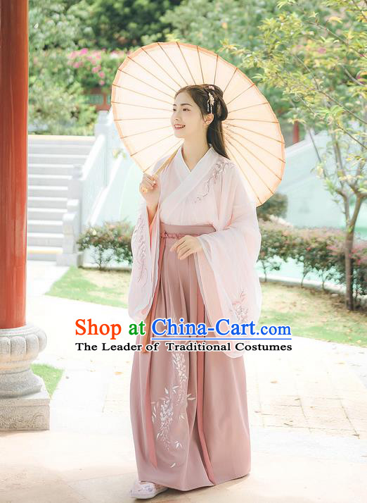 Traditional Chinese Ancient Hanfu Costume Palace Lady Clothing, Asian China Jin Dynasty Embroidered Pink Blouse and Pink Skirts for Women