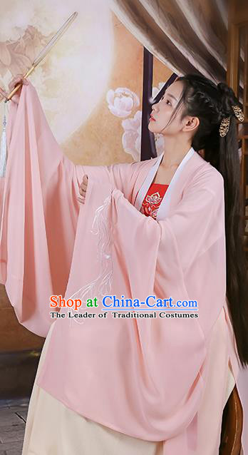 Traditional Chinese Ancient Hanfu Princess Costume Pink Embroidered Cloak, Asian China Jin Dynasty Palace Lady Cardigan Clothing for Women