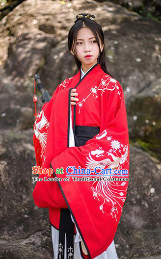 Traditional Chinese Ancient Hanfu Costume Palace Lady Clothing, Asian China Han Dynasty Embroidered Red Curve Bottom for Women