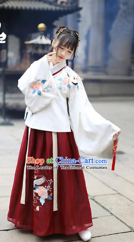Traditional Chinese Ancient Hanfu Costume Palace Lady Dress, Asian China Ming Dynasty Embroidered White Blouse and Red Skirt Clothing for Women