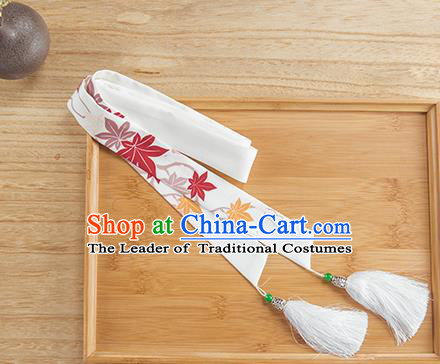 Traditional Chinese Ancient Hanfu Hair Accessories, Asian China Han Dynasty Princess Hair Clasp White Silk Tassel Headband