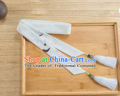Traditional Chinese Ancient Hanfu Hair Accessories, Asian China Han Dynasty Princess Hair Clasp Printing Crane Silk Tassel Headband