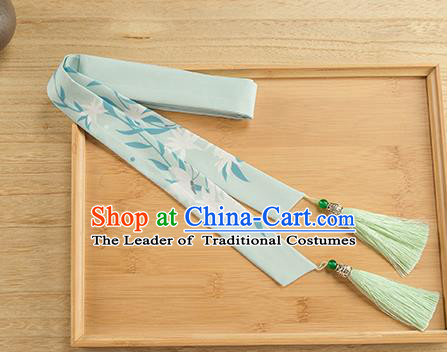 Traditional Chinese Ancient Hanfu Hair Accessories, Asian China Han Dynasty Princess Hair Clasp Printing Green Silk Tassel Headband