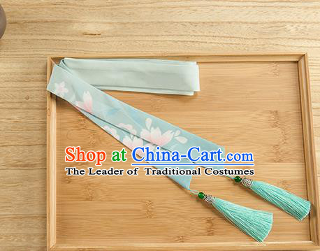 Traditional Chinese Ancient Hanfu Hair Accessories, Asian China Han Dynasty Princess Hair Clasp Printing Green Tassel Silk Headband