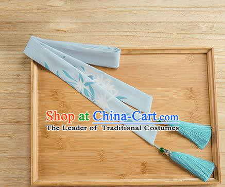 Traditional Chinese Ancient Hanfu Hair Accessories, Asian China Han Dynasty Princess Hair Clasp Printing Blue Tassel Silk Headband