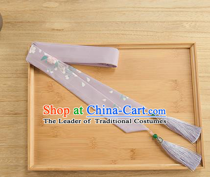 Traditional Chinese Ancient Hanfu Hair Accessories, Asian China Han Dynasty Princess Hair Clasp Printing Purple Tassel Silk Headband