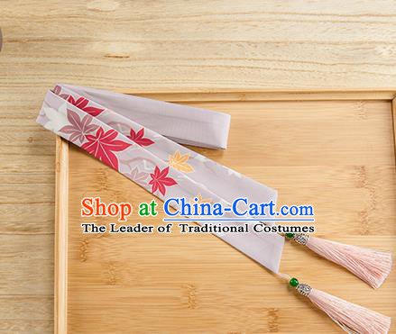 Traditional Chinese Ancient Hanfu Hair Accessories, Asian China Han Dynasty Princess Hair Clasp Printing Maple Leaf Purple Tassel Silk Headband