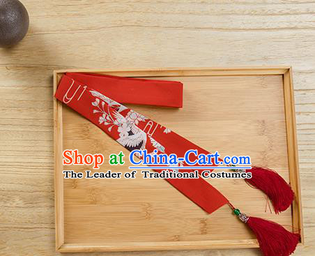 Traditional Chinese Ancient Hanfu Hair Accessories, Asian China Han Dynasty Princess Hair Clasp Printing Red Tassel Silk Headband