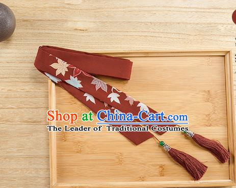 Traditional Chinese Ancient Hanfu Hair Accessories, Asian China Han Dynasty Princess Hair Clasp Printing Wine Red Tassel Silk Headband