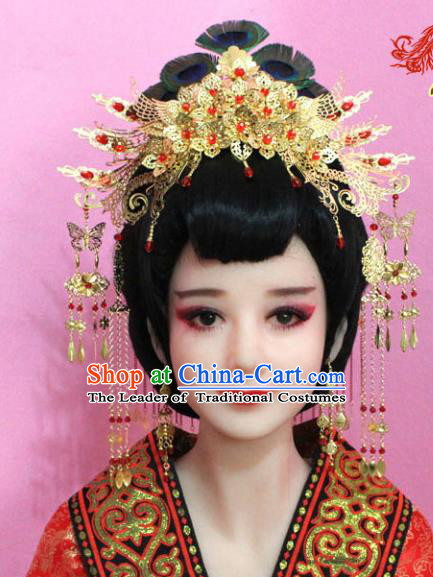 Traditional Handmade Chinese Hair Accessories Palace Lady Tassel Golden Phoenix Coronet Complete Set, Xiuhe Suit Step Shake Hairpins for Women