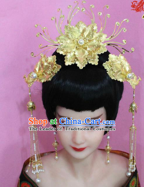 Traditional Handmade Chinese Hair Accessories Palace Lady Golden Peony Phoenix Coronet Complete Set, Xiuhe Suit Princess Step Shake Hairpins for Women