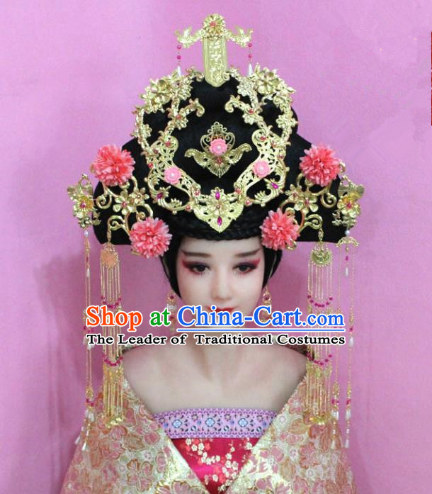 Traditional Handmade Chinese Hair Accessories Palace Lady Empress Phoenix Coronet Complete Set, Xiuhe Suit Tassel Step Shake Hairpins for Women