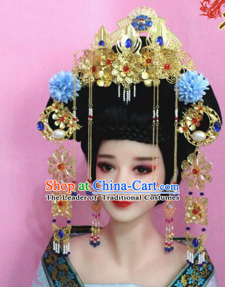 Traditional Handmade Chinese Hair Accessories Palace Lady Empress Phoenix Coronet, Xiuhe Suit Tassel Step Shake Flowers Hairpins for Women