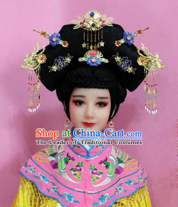 Traditional Handmade Hair Accessories Chinese Palace Lady Phoenix Hair Comb, China Xiuhe Suit Tassel Hairpins Complete Set for Women