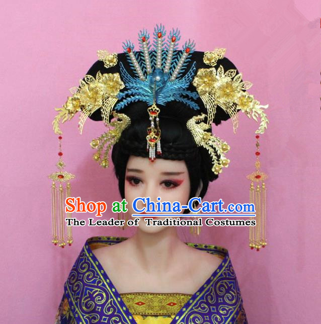 Traditional Handmade Chinese Hair Accessories Qing Dynasty Palace Lady Empress Phoenix Headwear, Manchu Princess Flowers Hairpins for Women