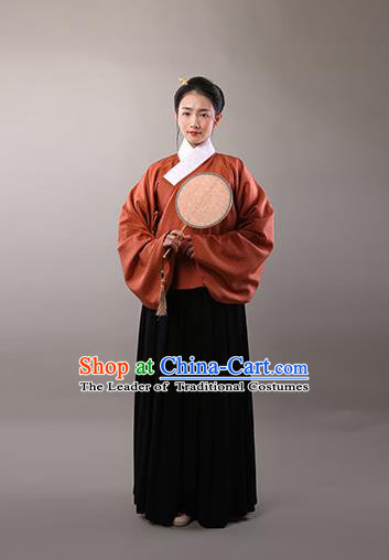 Traditional Chinese Ancient Hanfu Princess Costume, Asian China Ming Dynasty Dowager Embroidered Silk Blouse and Skirts for Women