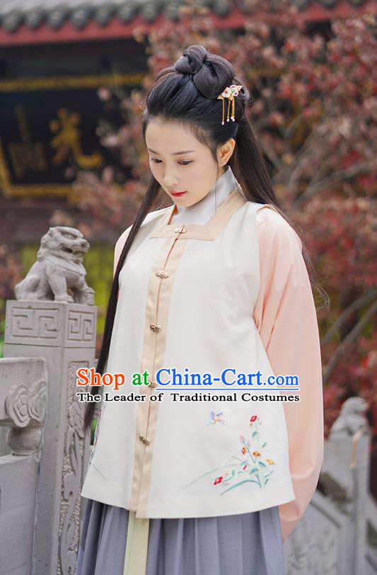 Traditional Chinese Ancient Hanfu Princess Costume Embroidered Orchid Vest, Asian China Ming Dynasty Palace Lady Clothing for Women